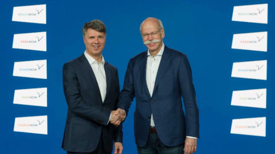 Harald Krüger, Vorsitzender des Vorstands der BMW AG, und Dieter Zetsche, Vorsitzender des Vorstands der Daimler AG und Leiter Mercedes-Benz Cars, bei der gemeinsamen Pressekonferenz vom 22.02.2019.
