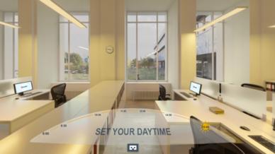 Dank einer VR-Simulation und entsprechender VR-Brillen kann Glamox die besondere Wirkung des Lichts anschaulich zeigen.