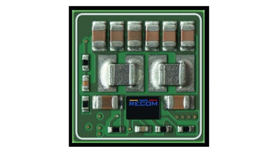 Bild 1: Nur 1,5cm² groß ist die Platine der RPM-Module von Recom Power, die dem DOSA 2nd-Generation-High-Density-Format entsprechen und am Ausgang mit sechs parallel geschalteten Kondensatoren bestückt sind, um auch schnelle Lastwechsel zu meistern.