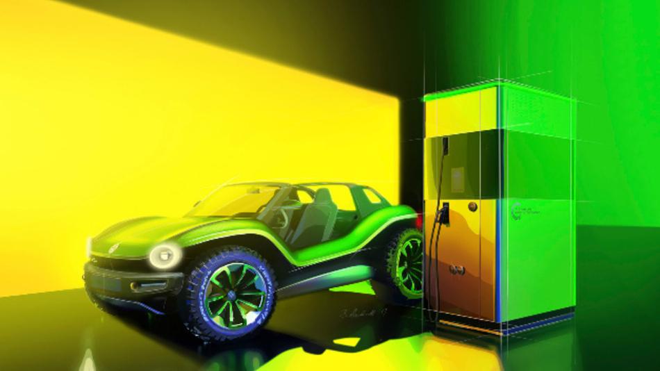 VW stellt auf dem Genfer Autosalon eine Designstudie der neuen Schnellladesäule vor. An die Powerbank können bis zu vier Fahrzeuge gleichzeitig angeschlossen werden.