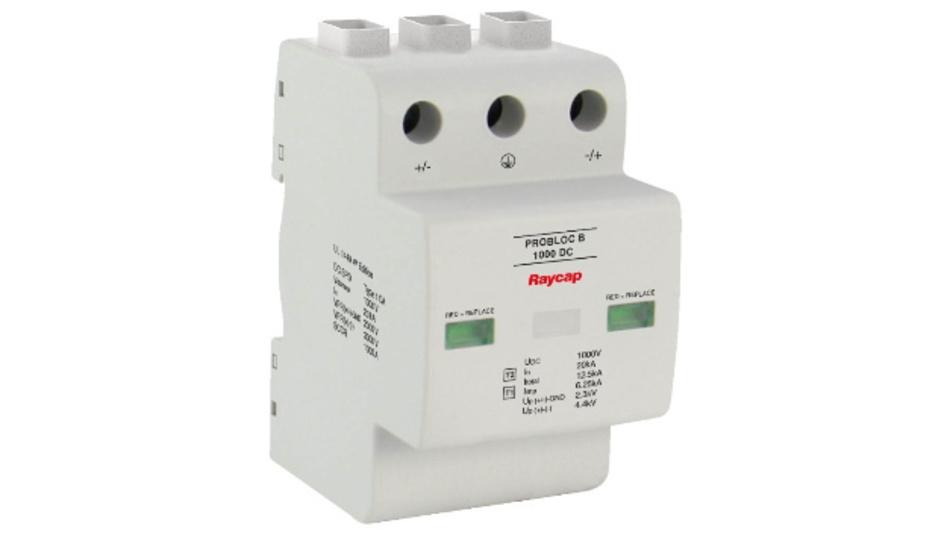 Der Überspannungsschutz ProBloc B 1000 DC von RayCap eignet sich besonders für Gleichspannungsanwendungen in der Elektromobilität.