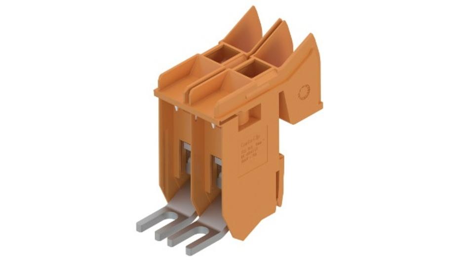 Conta-Clip ergänzt die Transformatorenklemmen-Baureihe TKS um eine Variante für Aderquerschnitte bis 16 mm². Die Klemmen dienen der Adaption der Spulenenden auf Schraubanschlüsse, über die sich Geräte oder Anlagenteile speisen lassen. Durch ihr weit aufklappbares Gehäuse mit arretierbarer Frontseite ermöglichen sie ein zeitsparendes Anlöten der Wicklungsdrahtenden. Die zweipoligen Klemmen eignen sich zur direkten Fixierung auf Spulenkörpern mit integrierten Montageklammern und zum Aufrasten auf 10 x 2 mm-Aluminiumhalteschienen. Dabei sorgt das Zugbügelsystem für einen festen und rüttelsicheren Halt. Der geschlossene Aufbau der Klemmengehäuse, die in orangem oder grauem PA 6.6 UL94 V-0 erhältlich sind, gewährleistet die Berührungssicherheit nach DGUV Vorschrift 3. Die Beschriftung bzw. Kennzeichnung von TKS-Transformatorenklemmen erfolgt mit dem Schnellbezeichnungssystem PMC SB 7,5 oder PC-SB 7,5.