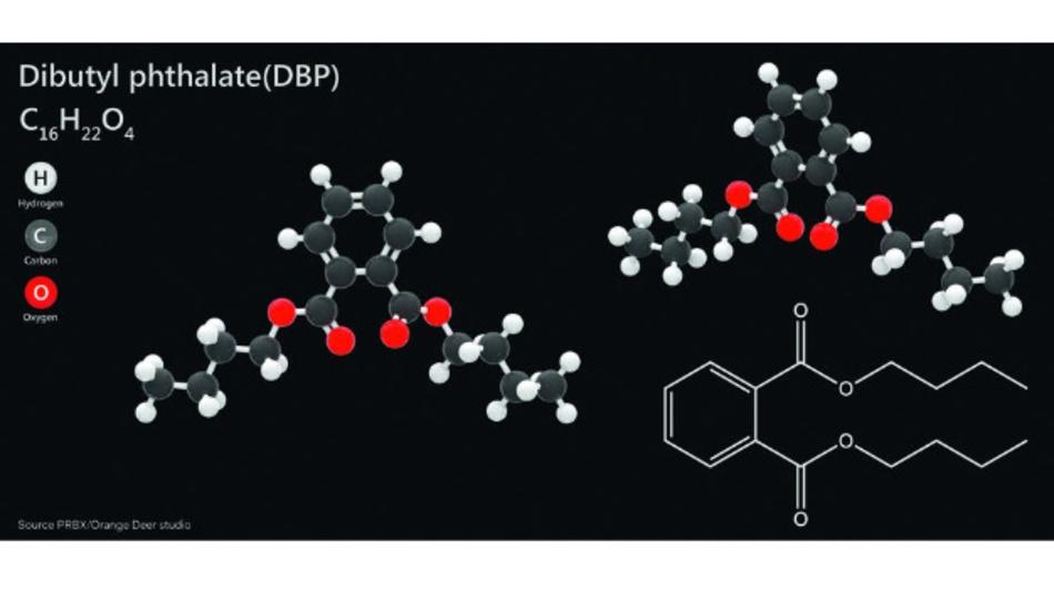 Bild 1: Phthalate wie das hier gezeigte Dibutylphthalat (DBP) stehen neu auf der RoHS-Liste verbotener Stoffe.