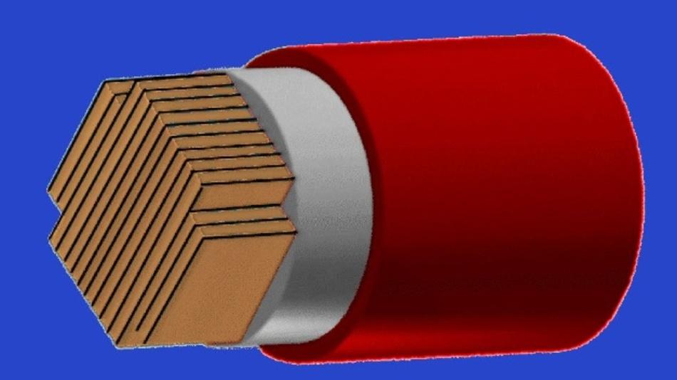 Der HTS CroCo besteht aus REBCO-Bändern zweier unterschiedlicher Breiten, die im Querschnitt kreuzförmig angeordnet sind.