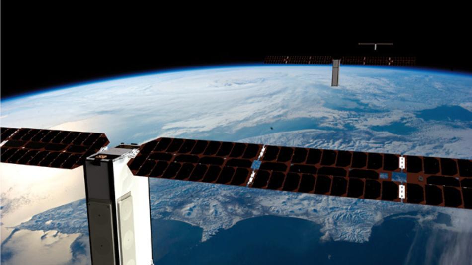 """Aus den 200 Nanosatelliten setzt sich die Konstellation """"The Pearls"""" zusammen."""