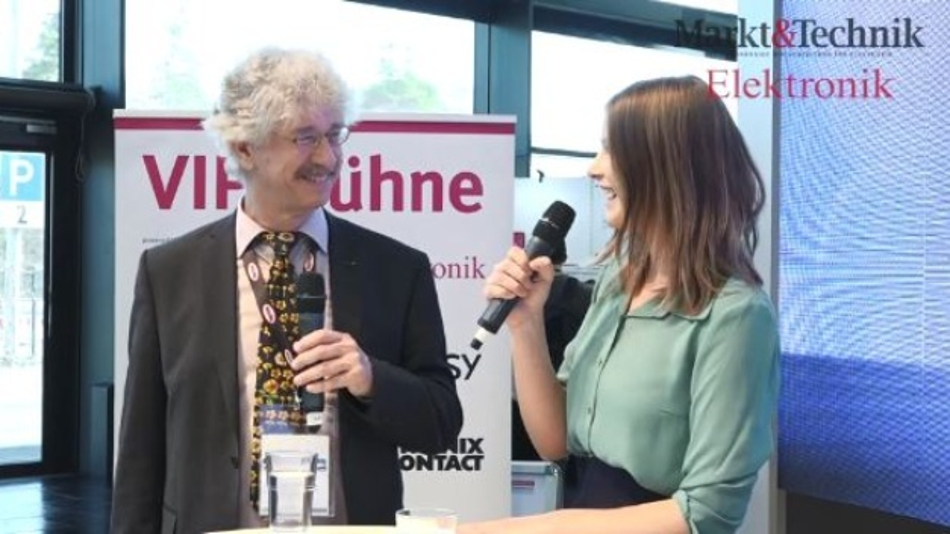 Prof. Dr. Karlheinz Blankenbach, Hochschule Pforzheim, Gespräch mit Anja Zierler, Markt&Technik, auf der VIP-Bühne powered by Markt&Technik und Elektronik auf der embedded world 2019.