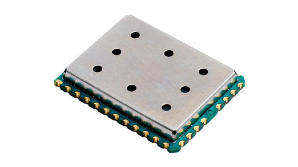 Bild 1. Das 20mm × 25mm große Funkmodul iM282A benötigt im reinen Sendebetrieb – wenn sich der Mikrocontroller im Stromsparmodus befindet – mit 8dBm Ausgangsleistung lediglich 25mA, im Empfangsfall 9mA und im Stromsparmodus deutlich unter 1µA.
