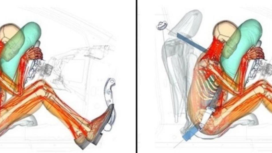 Gegenüberstellung der verschiedenen Körperhaltungen des Fahrers: Links betätigt der Fahrer aktiv das Bremspedal und rechts bremst ein Fahrerassistenzsystem.