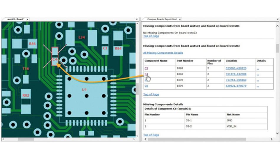 Unterschiede wie entfallene oder hinzugekommene Bauteile werden mit der Compare-Boards-Funktion im Layout direkt angezeigt.