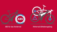 Durch das Antiblockiersystem des Vorderrades wird ein Überschlag des gesamten Rades bei einer Vollbremsung effektiv vermieden.