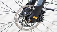 Auch an der doppelten Bremsscheibe ist das ABS am E-Bike erkennbar.