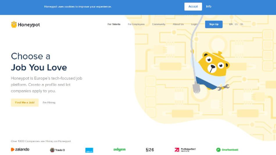 Honeypot wurde 2015 gegründet und ist eine Job-Plattform für IT-Spezialisten. Firmen bewerben sich hier bei den Spezialist, nicht umgekehrt.