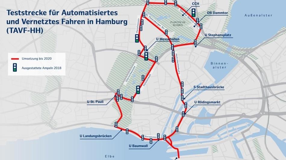 Karte der Teststrecke für automatisiertes Fahren in Hamburg.
