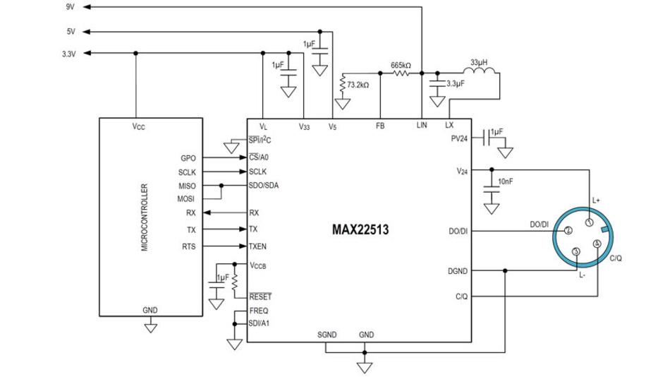 Typische Anendung des IO-Link-Transceiver-ICs MAX22513, angeschlossen an einen Mikrocontroller. Der interne DC/DC-Wandler erzeugt aus 12 V eine Spannung von 9 V (max. 150 mA).
