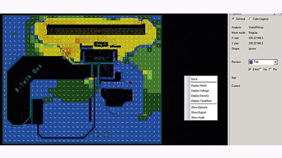Bild 2. Strompfade auf einer Lage der Leiterplatte. Die Pfeile geben die Stromrichtung an, Farben signalisieren die durch den Leitungswiderstand verursachte Spannungsreduktion. So lassen sich Problemstellen schnell finden