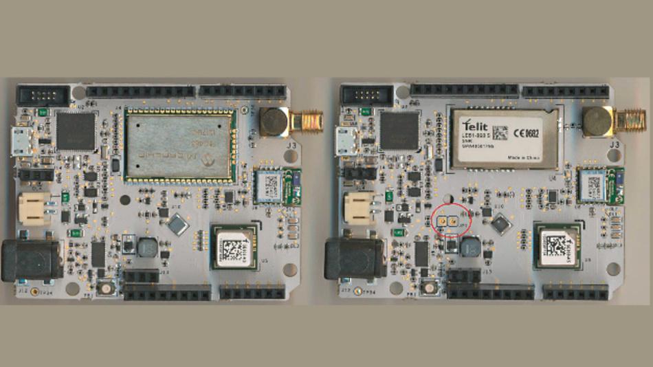 Bild 1: Das Lion- (links) und Fox-3-Board (rechts) sind bis auf das Funkmodul (fast) identisch.