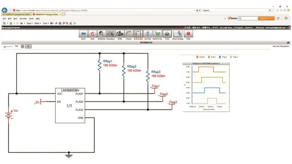 Bild 3: Anzeige des WEBENCH Power Designer mit einem Schaltplan mit LM3880 und Diagramm der Freigabe-Flags für Eingang und Ausgang zur Steuerung externer Regler oder Stromversorgungen.