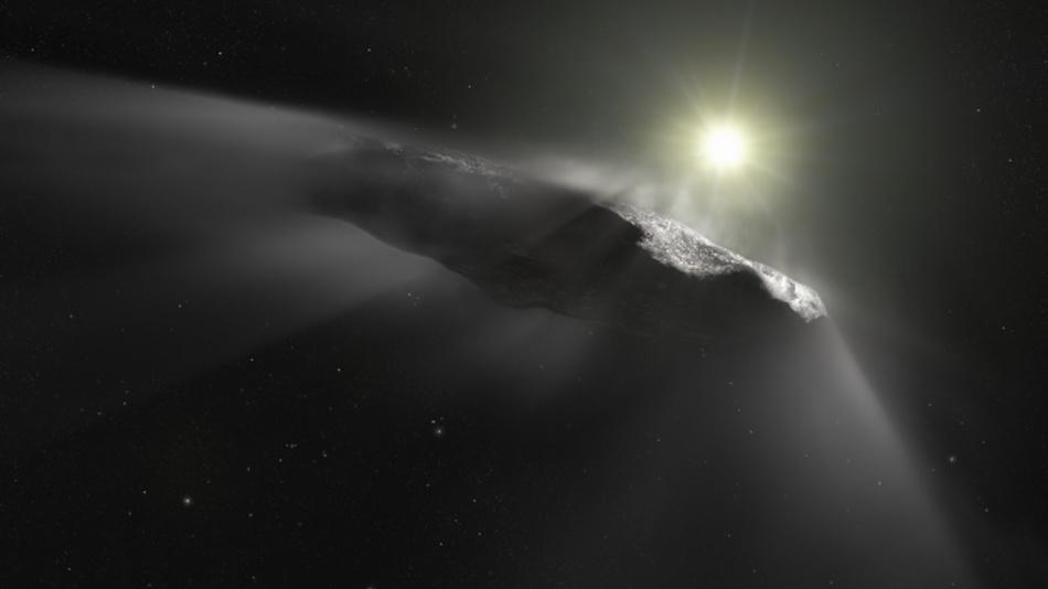 Künstlerische Darstellung des interstellaren Asteroiden Oumuamua.
