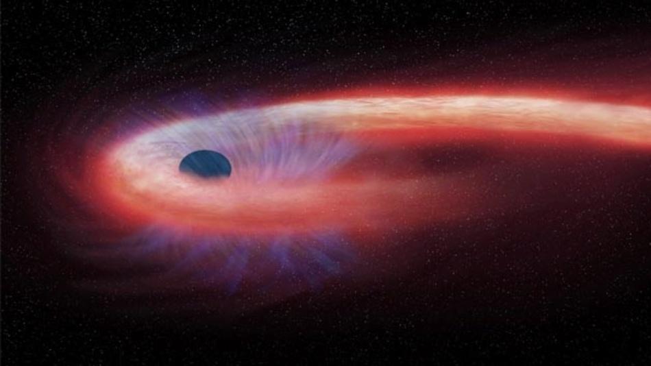 Diese Visualisierung zeigt einen Stern, der von einem schwarzen Loch geschluckt wird und dabei einen roten Schweif aus Röntgenstrahlen hinter sich lässt. Schwarze Löcher sind Orte der Extreme. Die Masse ist in ihnen so stark zusammengepresst, dass nichts ihrer enorm hohen Anziehungskraft entkommt.
