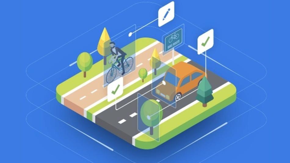 An bearbeiteten Bildern lernen Algorithmen für autonomes Fahren, die reale Umgebung zu erkennen.