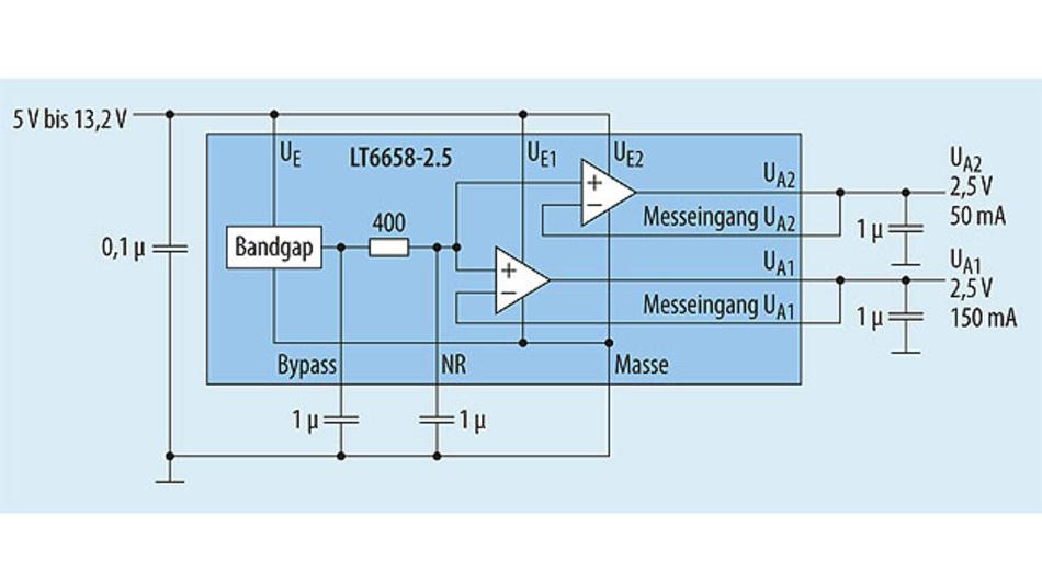 Bild 1. Der Refulator LT6658 besteht aus einer Referenzspannungsquelle und zwei separaten Ausgangsverstärkern. Alle drei Stufen können separat mit Strom versorgt werden.