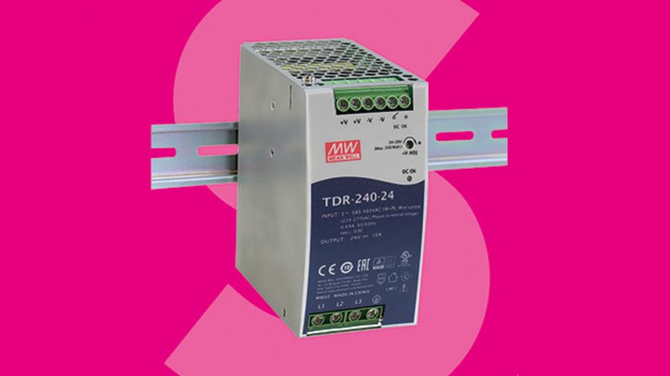 Das schlanke 3-Phasen-Schaltnetzteile mit 240 W von Mean Well eignet sich für die DIN-Schienenmontage.