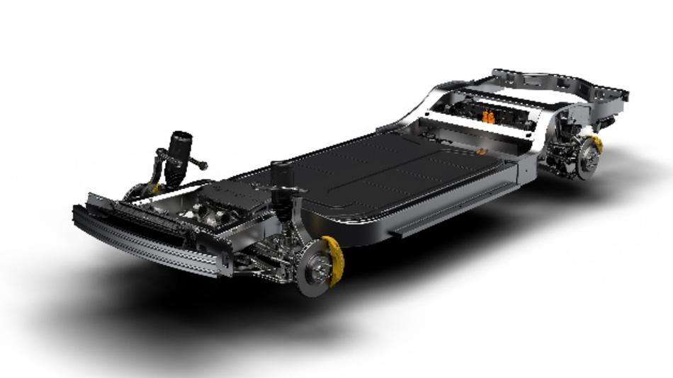 Die flexible Skateboard-Plattform für Elektrofahrzeuge von Rivian.