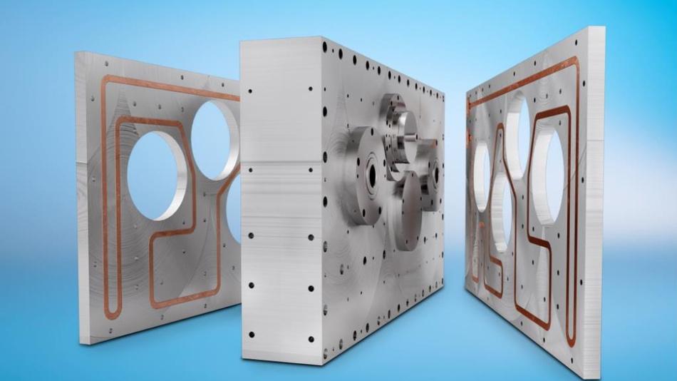Bild 1. Beim Einsatz als Kühlsystem für die Strinradgetriebe von Tandler werden zwei Kühlplatten spiegelbildlich an den seitlichen Gehäuseflächen des Getriebes montiert.