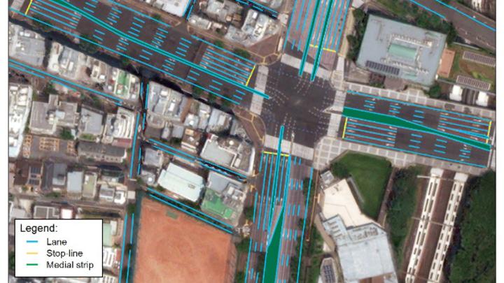 Beispiel-Karte der Tokio-Region für das autonome Fahren