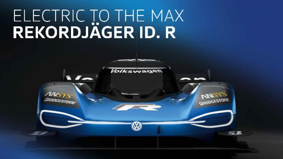 Der überarbeitete Elektro-Rennwagen Volkswagen ID. R für die Nordschleife.