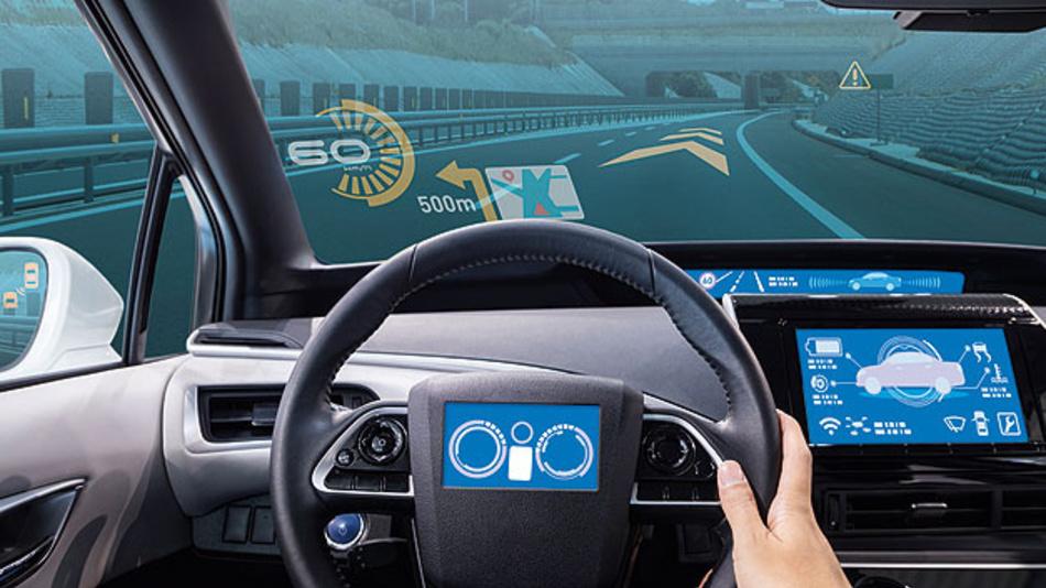 Bild 1. Fahrzeugdisplays ersetzen Spiegel und analoge Instrumente und visualisieren auch sicherheitskritische Informationen.