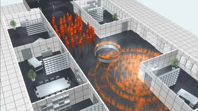 Eine neue Evakuierungs-Simulations-Software erlaubt die direkte Simulation auf Basis des vom Planer bereitgestellten digitalen Construction Twin und damit die Analyse von Evakuierungszeiten und kritischen Engpässen unter Berücksichtigung verschiedene