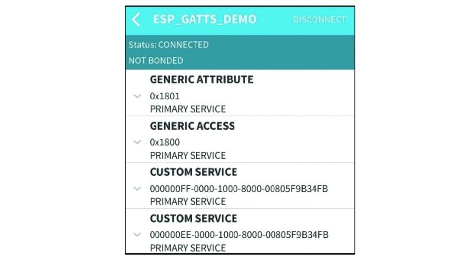 Bild 7: Die vom ESP32 bereitgestellten Services des gatt_server-Beispiels auf einem Smartphone.