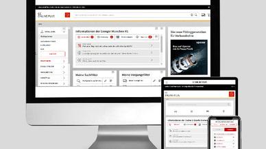 Smartphone, Tablet und Desktop mit Software-Benutzeroberfläche