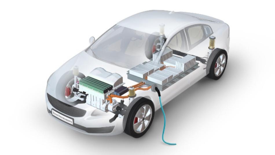 Darstellung der Hauptbestandteile eines elektrifizierten Fahrzeugs.