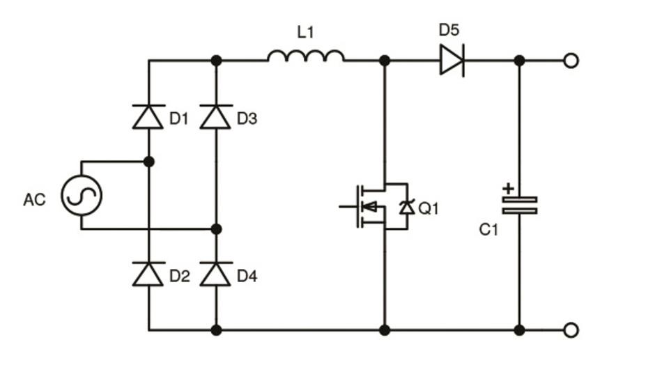 Bild 2: Typische aktive PFC-Stufe bestehend aus der Induktivität L1, dem Transistor Q1 und der Diode D5. Smart Mobility /Bordladegeräte für Elektrofahrzeuge
