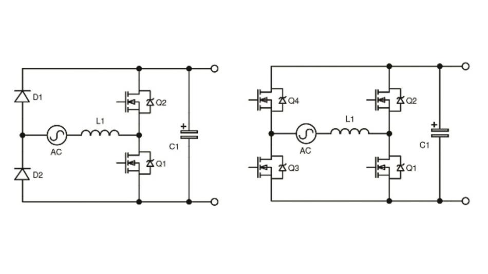Bild 3: Brückenlose Totem-Pole-Anordnung (links) und weitere Verbesserung (rechts).