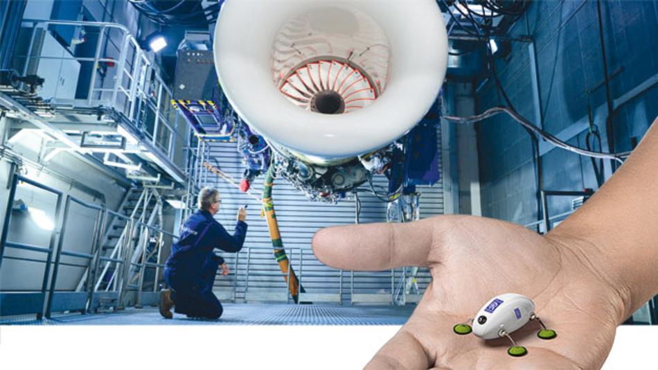Zentimeterkleine Roboter inspizieren und reparieren künftig die Flugzeugtriebwerke.