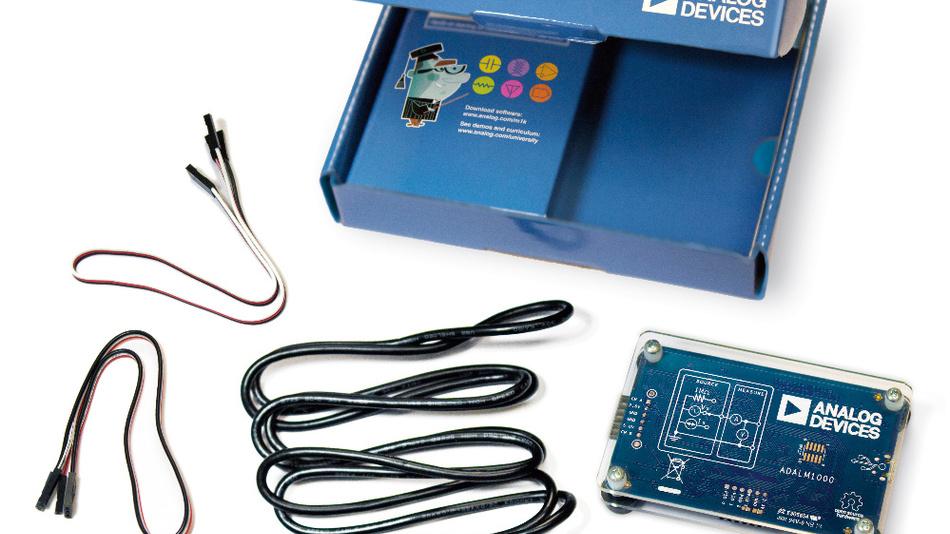 Das Lernmodul ADALM1000 ist für Grundlagenversuche geeignet. Es wird über eine USB-Schnittstelle angeschlossen und bietet damit eine programmierbare Spannungsversorgung mit 2,5 V oder 5 V und bis zu 200 mA. Über zwei Kanäle können unterschiedliche Spannungs- oder auch Stromsignalverläufe ausgegeben werden.