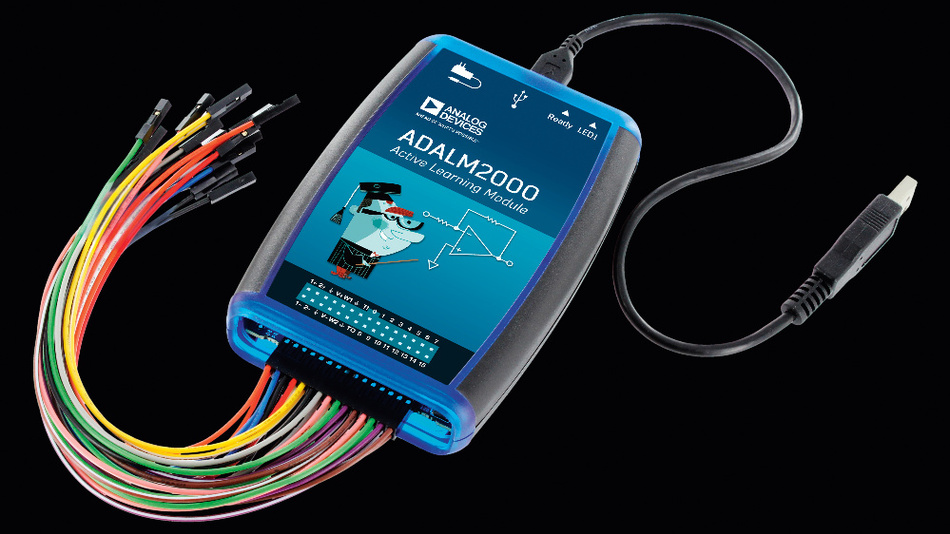 Für fortgeschrittene Versuche ist das Lernmodul ADALM2000 gedacht. Zusätzlich zu den Funktionen des 1000er-Moduls sind damit Signale bis 25 MHz messbar und bis zu 30 MHz erzeugbar. Die dazugehörige Software ermöglicht die Darstellung eines 2-kanaligen Oszilloskops und eines 16-kanaligen digitalen Logik-Analysers sowie eines entsprechenden Voltmeters. Es können Netzwerke, Spektren und digitale Busse analysiert werden.