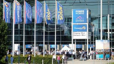 Die Fachmessen Intersolar Europe, ees Europe, Power2Drive Europe und EM-Power finden vom 15.-17. Mai in München statt - der Bundesverband Neue Energiewirtschaft ist Partner.