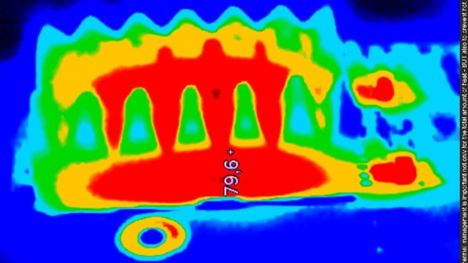 Strukturen im Display wie Ansteuerelektroniken oder Komponenten geben unterschiedliche Hitze ab und erzeugen einen Hot-Spot auch im Mikrobereich. Damit sind Bereiche innerhalb beispielsweise eines kleinen Chips deutlich wärmer bzw. kälter. Wird es dann an einigen Stellen zu heiß, kann das ganze Display Schaden nehmen.
