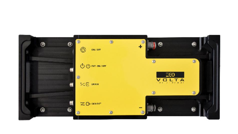Die »evoTractionBattery« von ecovolta mit 48 V und 10 kWh auf einer Größe von 520 x 218 x 186 mm.