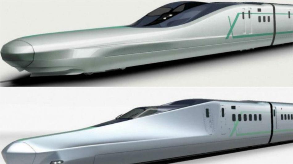Zwei Versionen des Sinkansen Alfa-X: Die langen Nasen des Triebwagens sollen den Luftwiderstand minimieren und den Schock bei der Einfahrt in Tunnels mindern.
