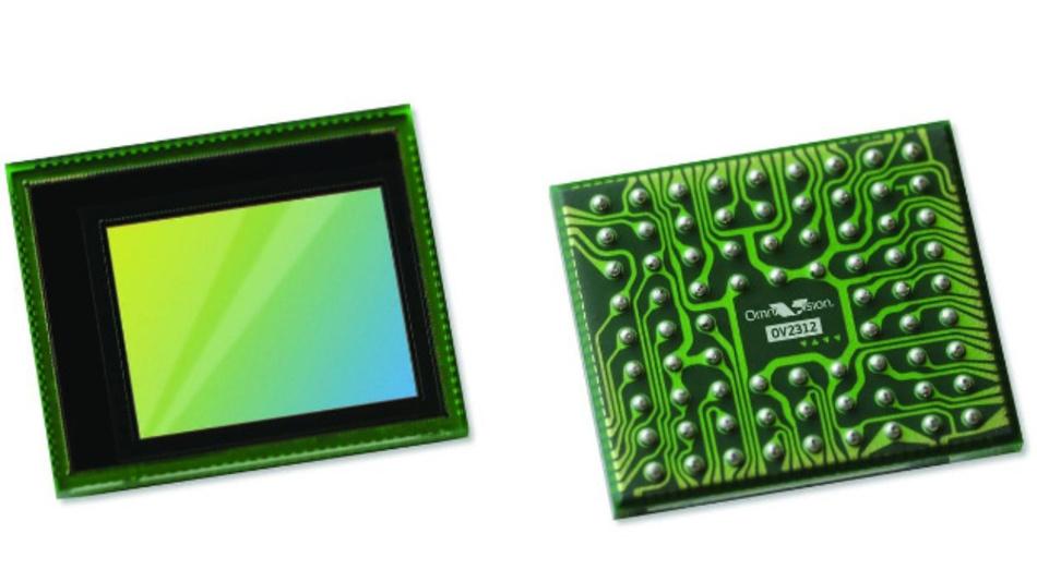 Vorder- und Rückseite des Bildsensors OV2312 von OmniVision Technologies.