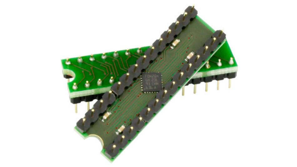 USB-Controller mit 19 E/A-Pins und 12 bit ADU: IO-Warrior28.