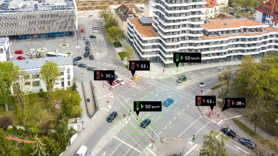 Die vernetzte Kommunikation mit Ampeln erhöht durch die gezielte Kommunikation der Ampelinformationen die Chancen auf eine grüne Welle im Stadtverkehr.