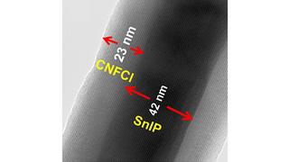 Elektronenmikroskopische Aufnahme des Hybrid-Materials.