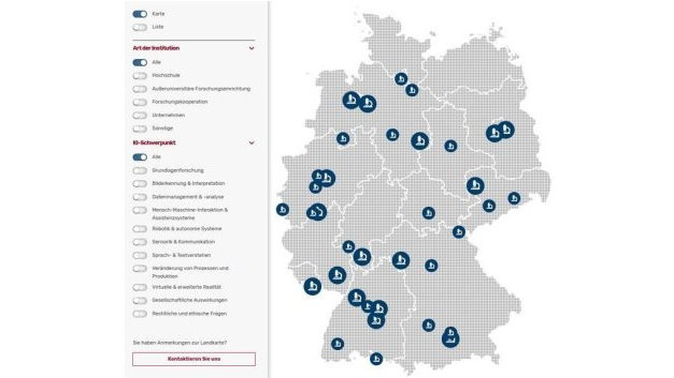 Die interaktive Landkarte der Plattform Lernende Systeme zeigt, an welchen Institutionen in Deutschland zu KI geforscht wird.