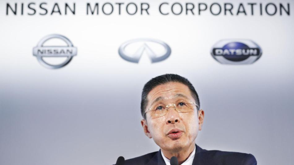 Hiroto Saikawa, Präsident und CEO von Nissan, spricht bei einer Pressekonferenz im Nissan-Hauptsitz in Yokohama.